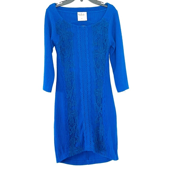 FREE PEOPLE BLUE BODYCON DRESS WITH EMBROIDERY